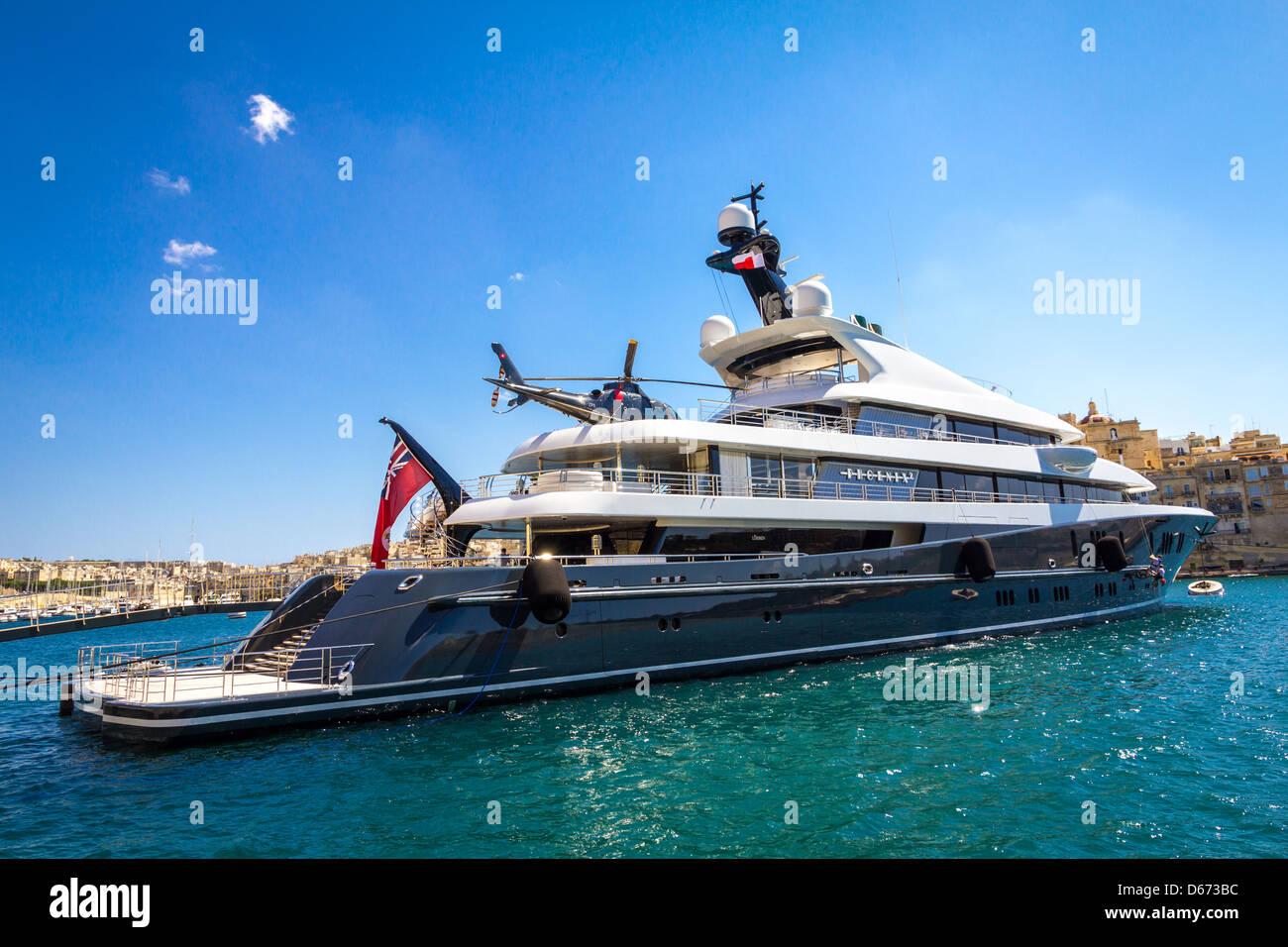 Mega Yacht Phoenix 2 In Vittoriosa Valetta Malta