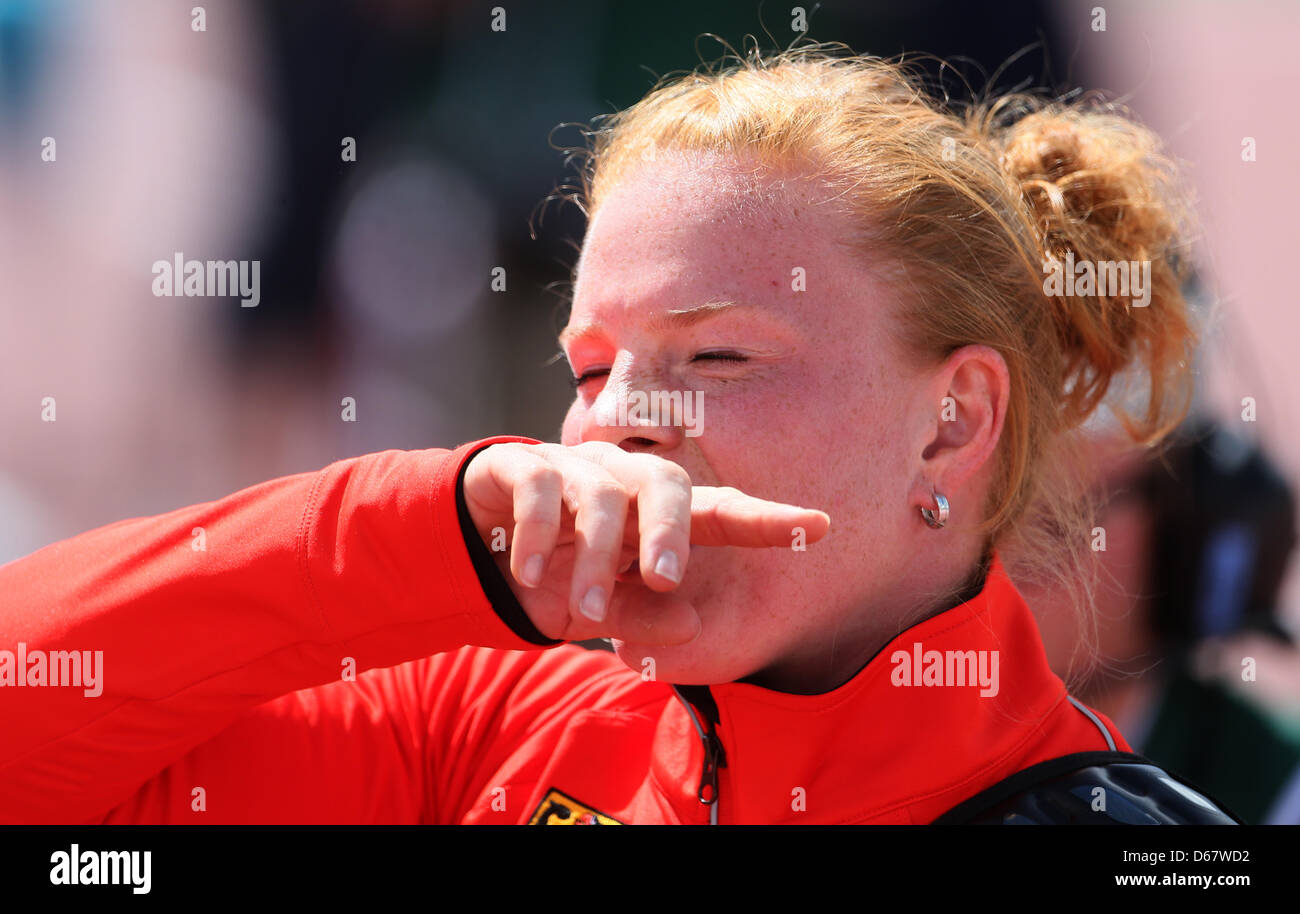 Betty Heidler of Germany reacts during the women's Hammer Throw qualification of the European Athletics Championships 2012 at the Olympic Stadium in ... - betty-heidler-of-germany-reacts-during-the-womens-hammer-throw-qualification-D67WD2