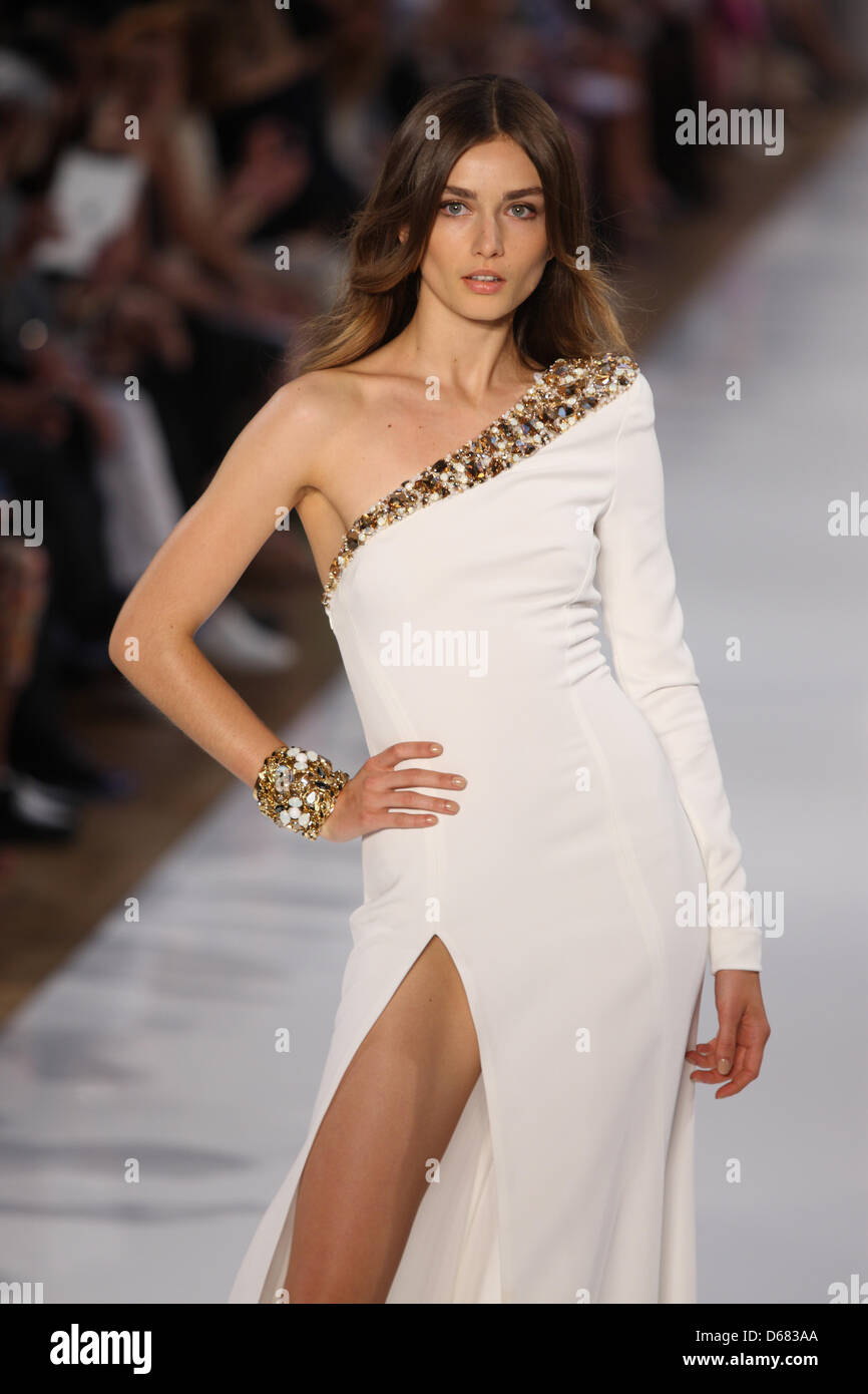 A model wears a creation by french designer alexandre for French couture