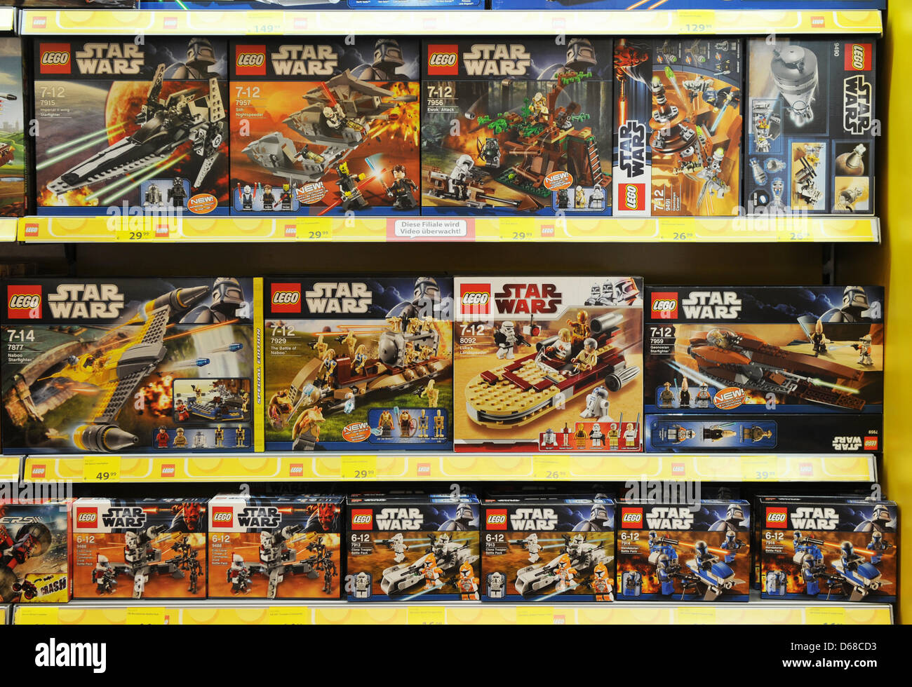 lego star wars toys sit on a shelf in a toy store in. Black Bedroom Furniture Sets. Home Design Ideas