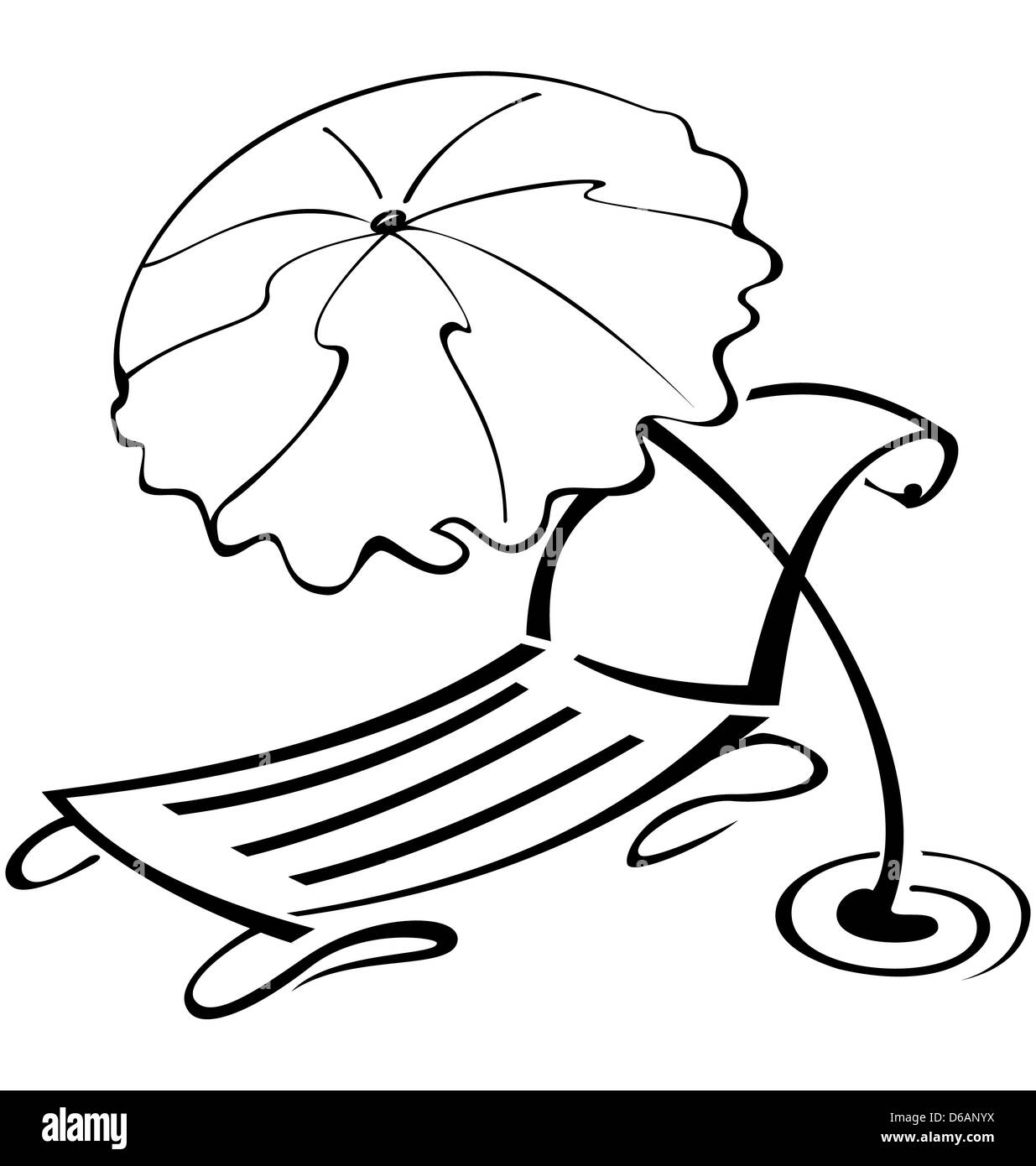 Beach chair and umbrella black and white - Black And White Contour Umbrella And Beach Chair