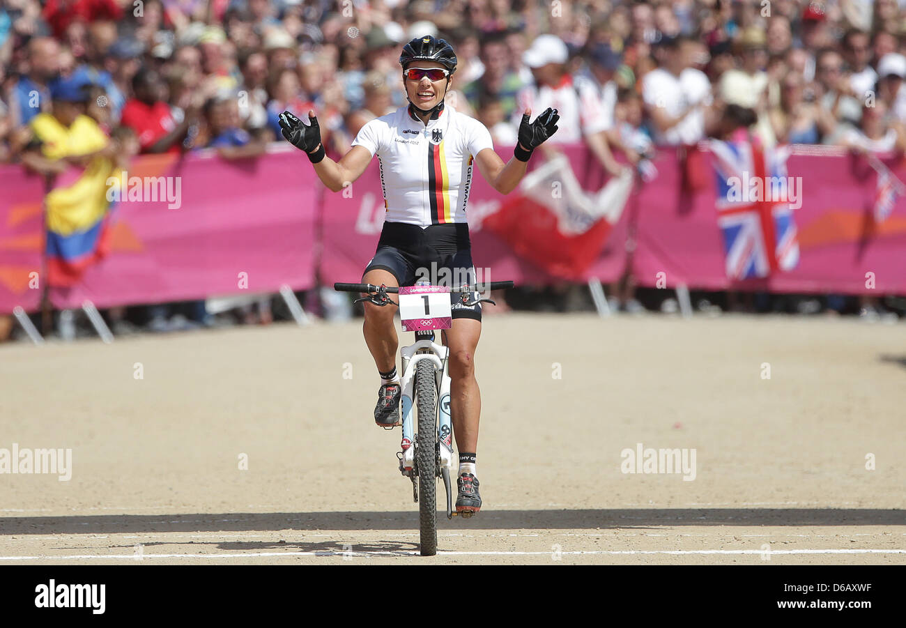 Sabine Spitz Of Germany Celebrates After Winning The Silver Medal
