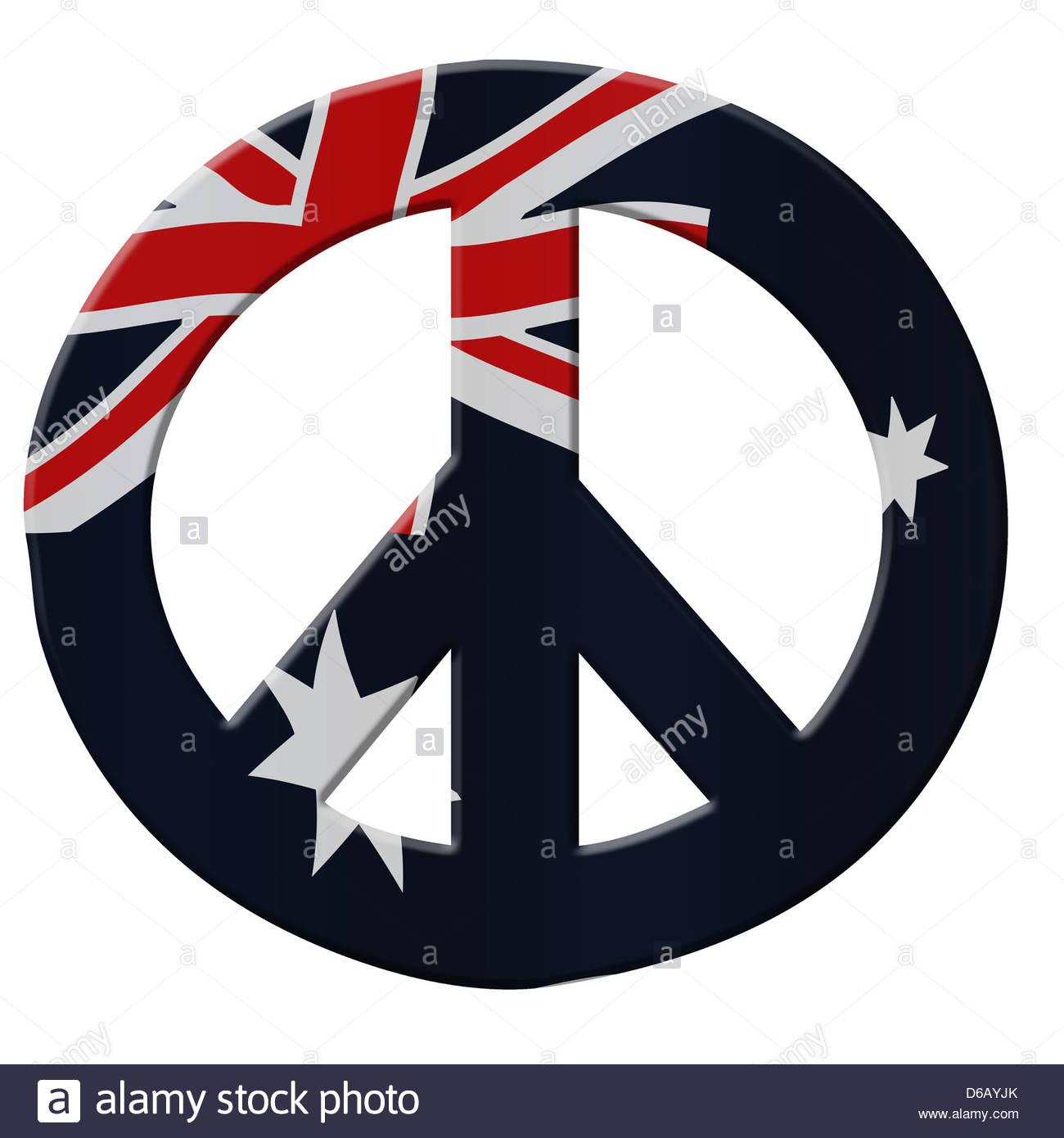 Digital illustration australian flag with peace symbol stock australian flag with peace symbol biocorpaavc