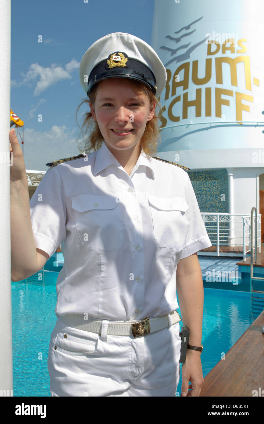 Captain Claudia Kempkes Poses On The Cruise Ship Deutschland In - Cruise ship captains