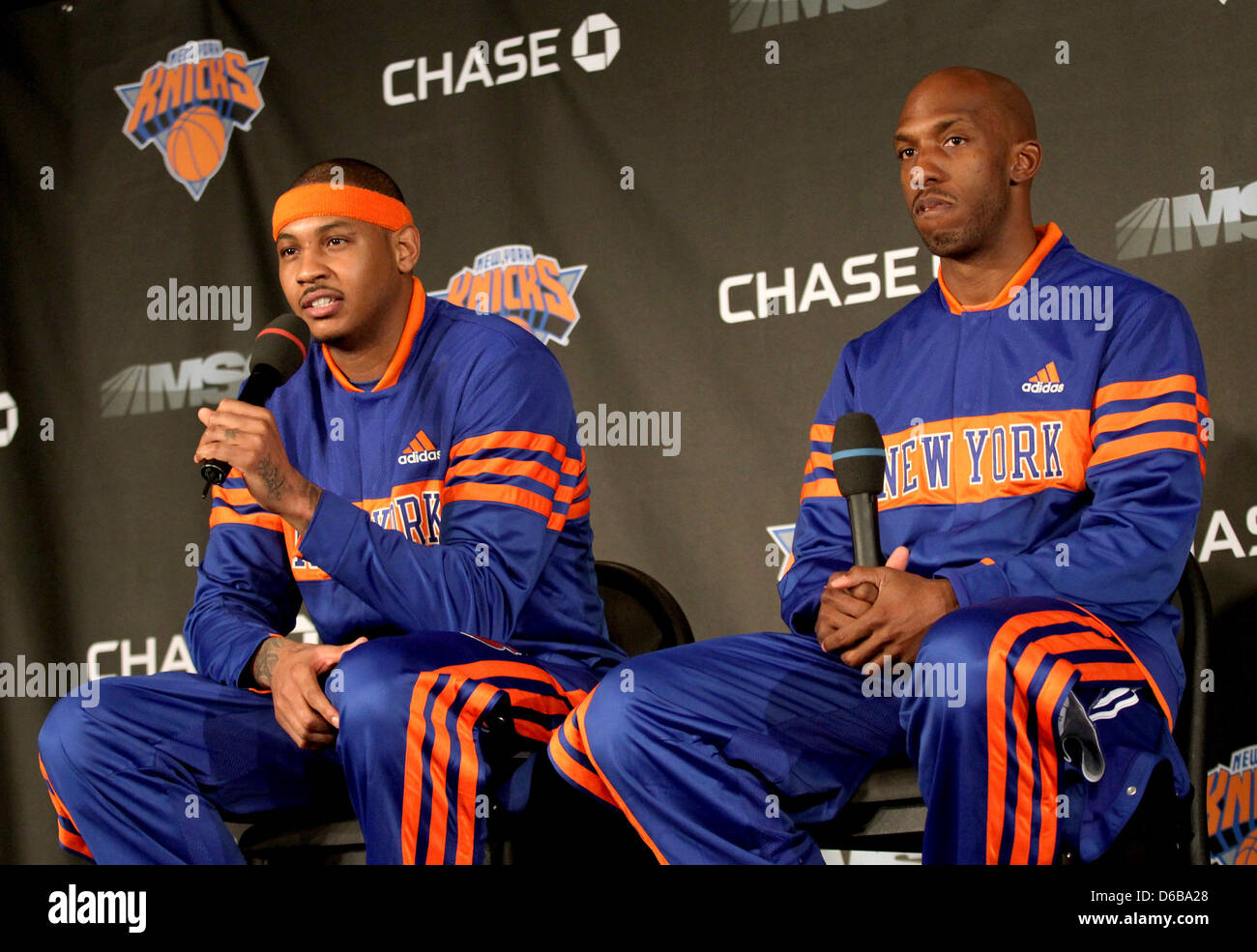 Carmelo Anthony and Chauncey Billups The New York Knicks hold a