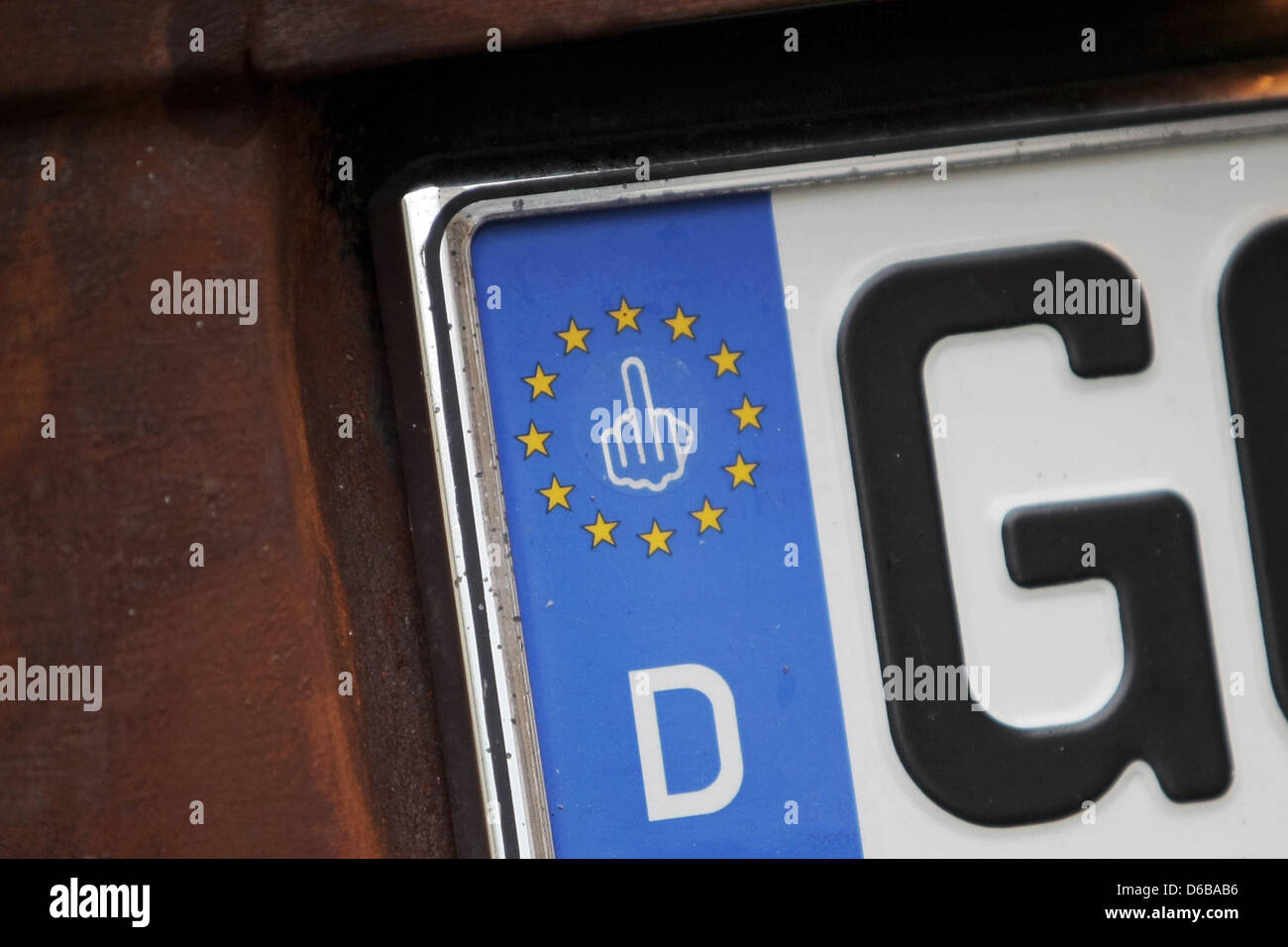 European flag with stars in the middle the federal eagle european a car owner has stuck a picture of a middle finger in the middle of the biocorpaavc Images