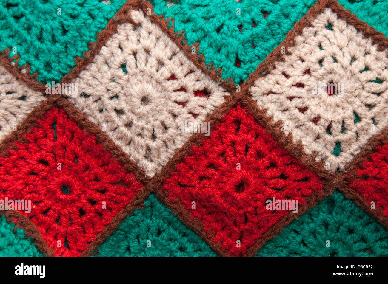 crochet, hand made, wool, blanket, squares, abstract,multi Stock ... : crochet quilt squares - Adamdwight.com