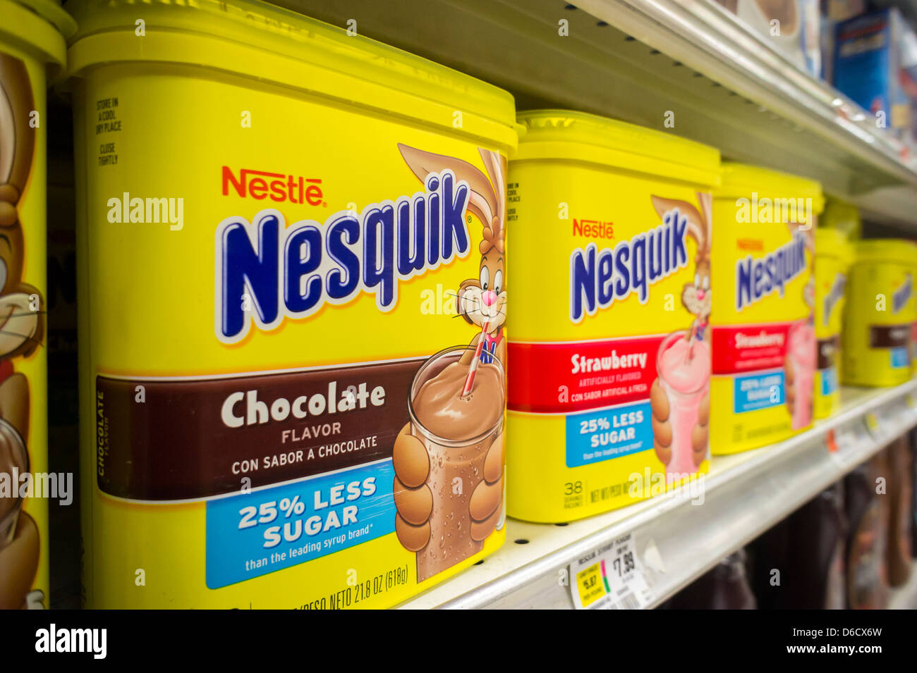 Nestlé Nesquik milk flavoring in chocolate and strawberry is seen ...