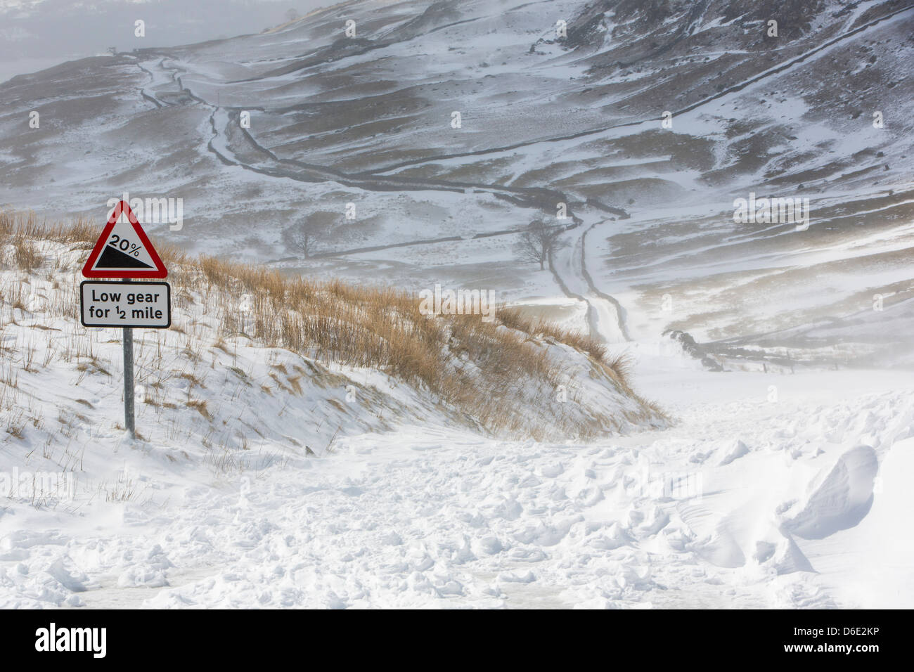 Snow Drift Granite : Massive snow drifts block the kirkstone pass road above