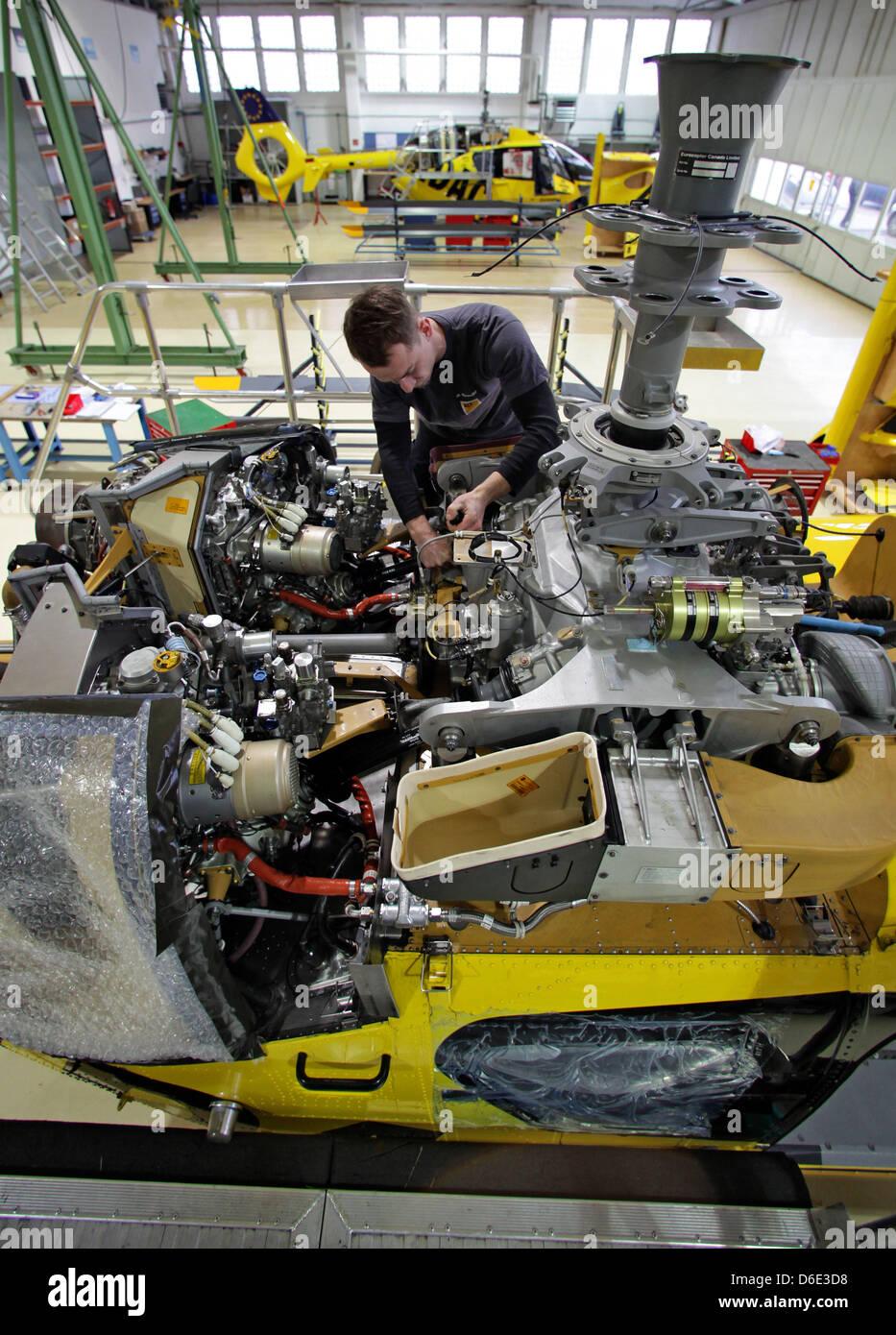 Aircraft mechanic Michael Straube maintains an ADAC rescue ...