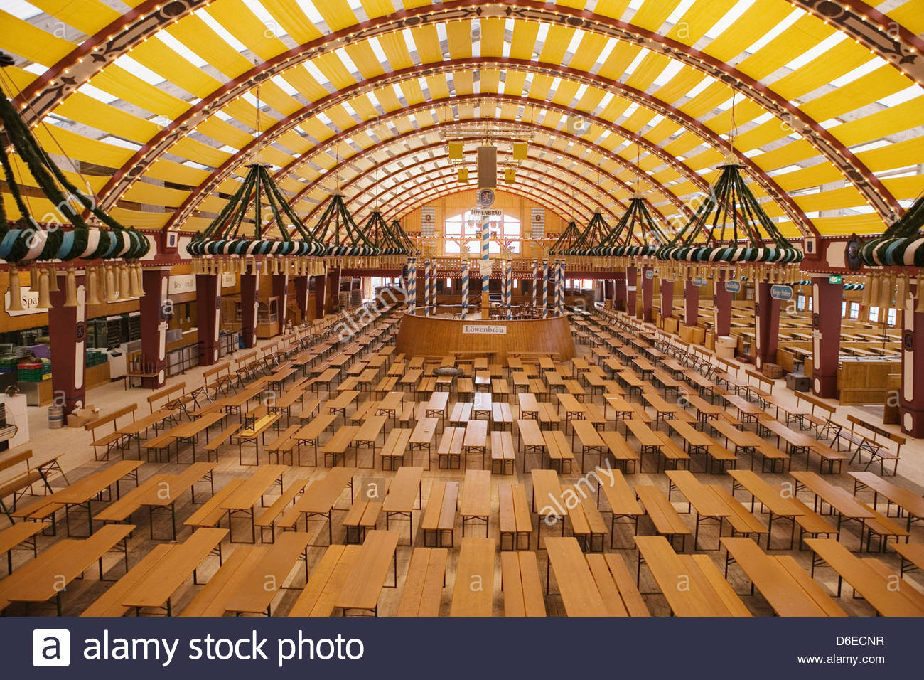 Interior Empty Beer Tent Oktoberfest Munich Germany Stock
