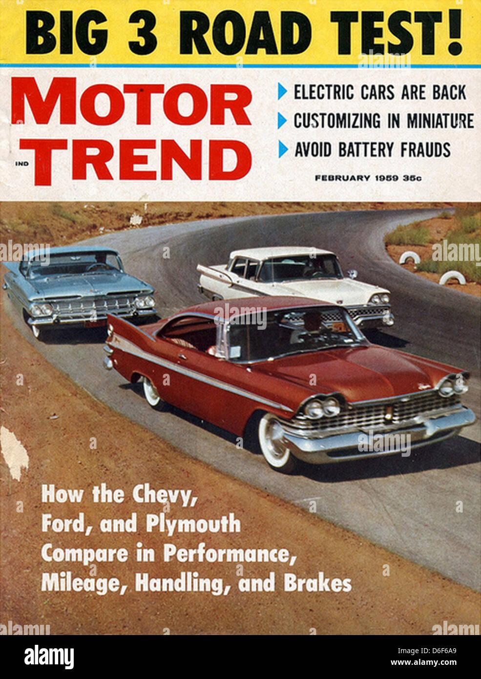 MOTOR TREND US car magazine issue February 1959 Stock Photo ...