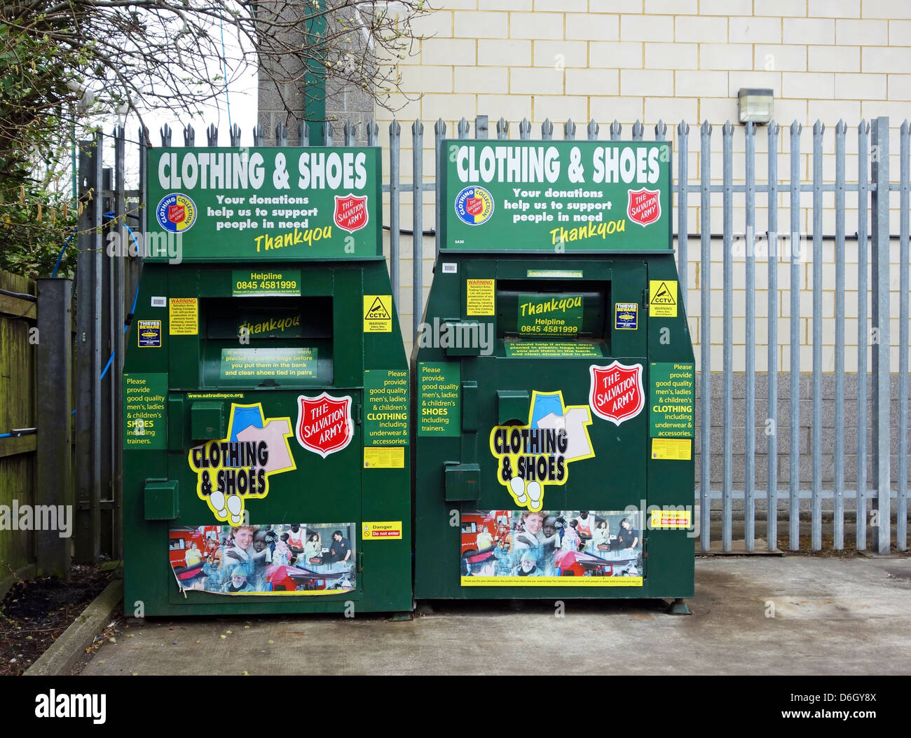 Salvation Army Clothes Recycling Point Stock Photo
