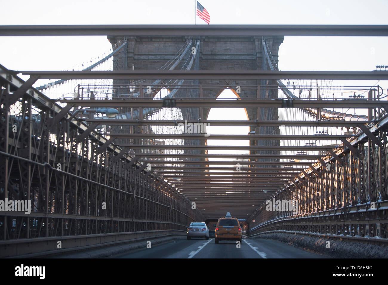 Cars driving on brooklyn bridge stock photo royalty free for Motor vehicle in brooklyn