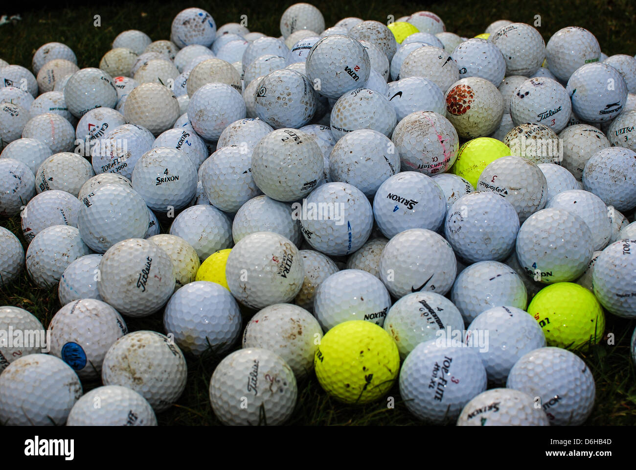 A pile of golf balls ready for practise Stock Photo ...