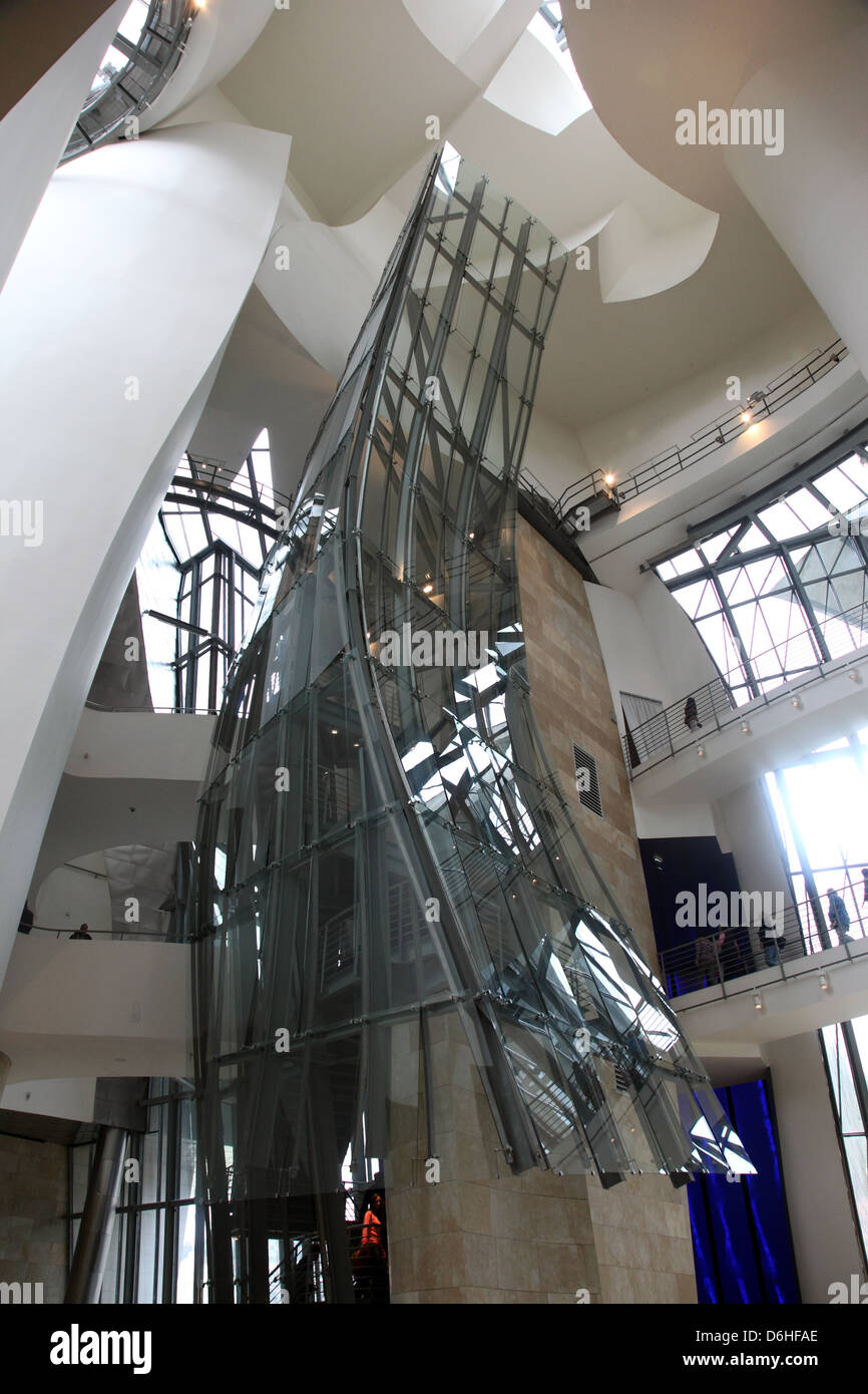 Interior atrium in the guggenheim museum by frank gehry bilbao spain stock photo 55704278 alamy for Guggenheim museum bilbao interior