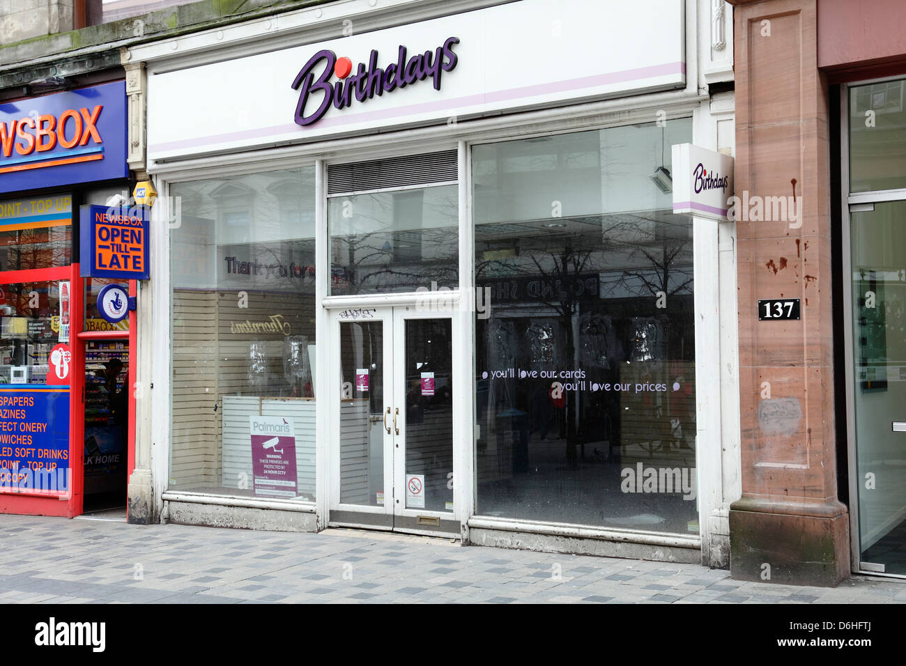 A closed Birthdays card and gift shop on Sauchiehall Street in – Birthdays Card Shop