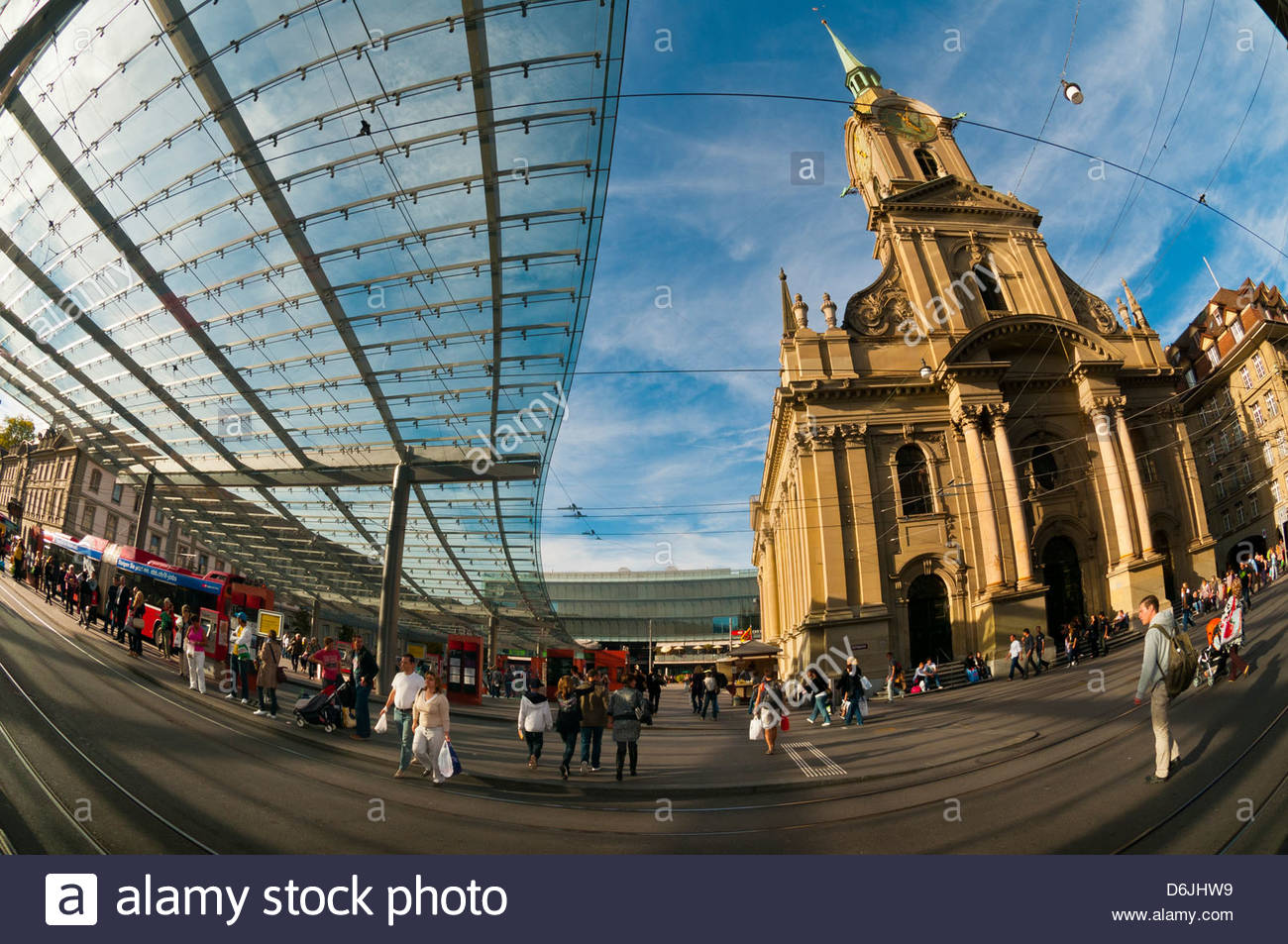 Glass canopy on Bahnhofplatz and the Church of the Holy Spirit (Heiliggeistkirche) Bern Canton Bern Switzerland & Glass canopy on Bahnhofplatz and the Church of the Holy Spirit ...