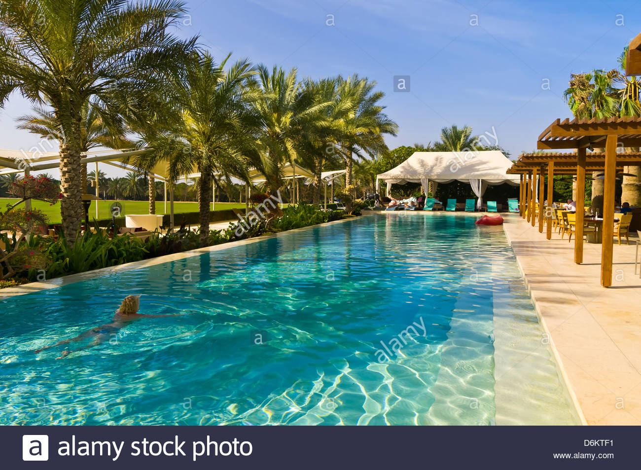 Swimming Pool Desert Palm Hotel Dubai United Arab Emirates Stock Photo 55755365 Alamy