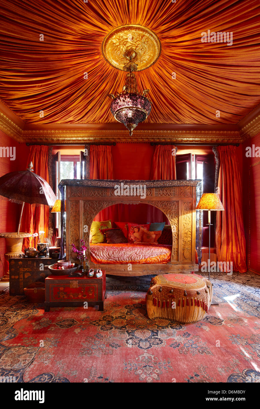 Sunset Orange Farmhouse Living Room Decor