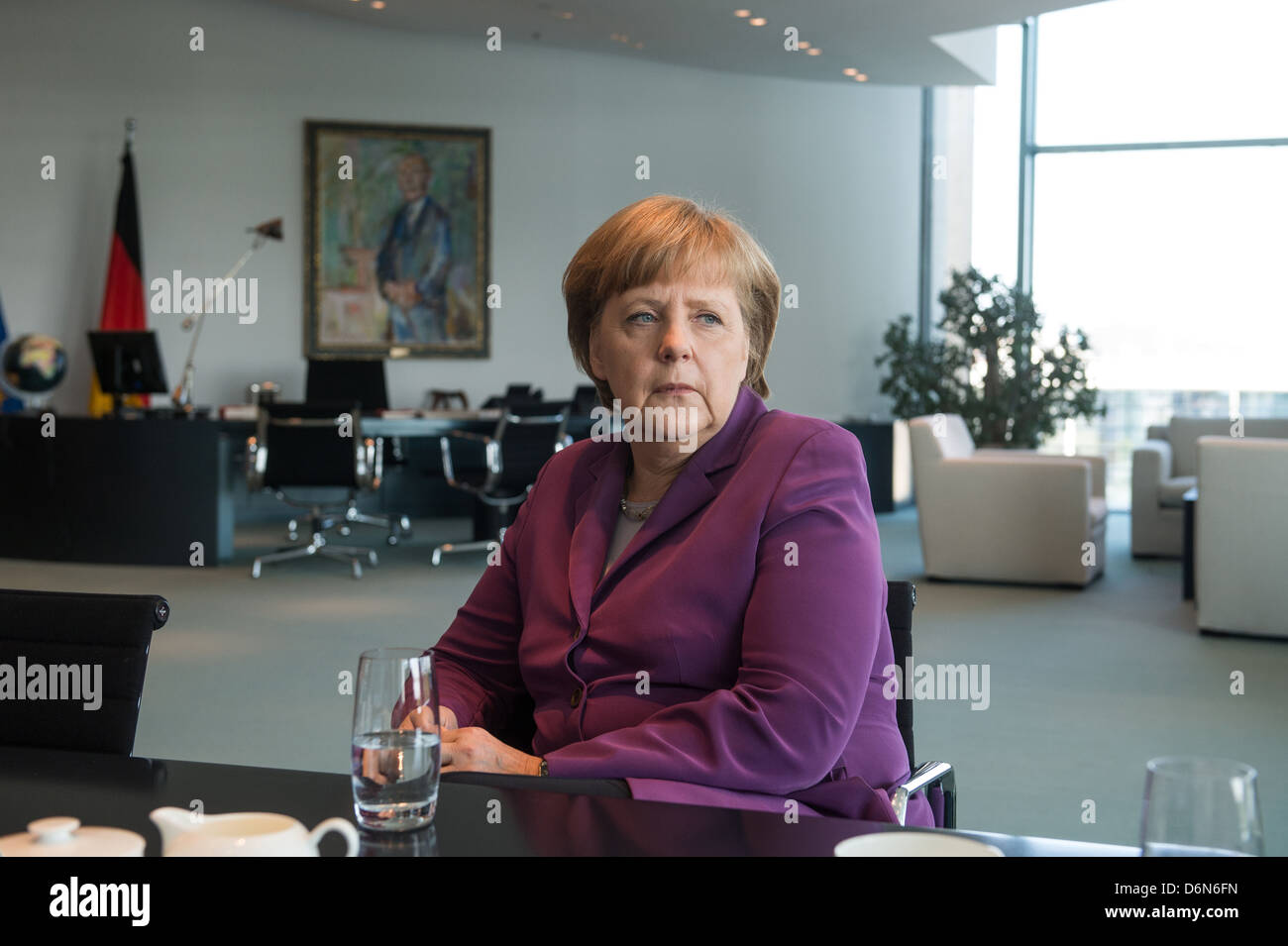 federal office interview stock photos federal office interview berlin german chancellor angela merkel cdu in an interview in her
