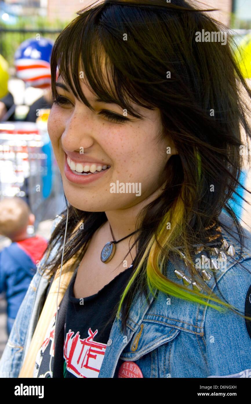 Cute Latina Teen Participant. MayDay Parade And Festival