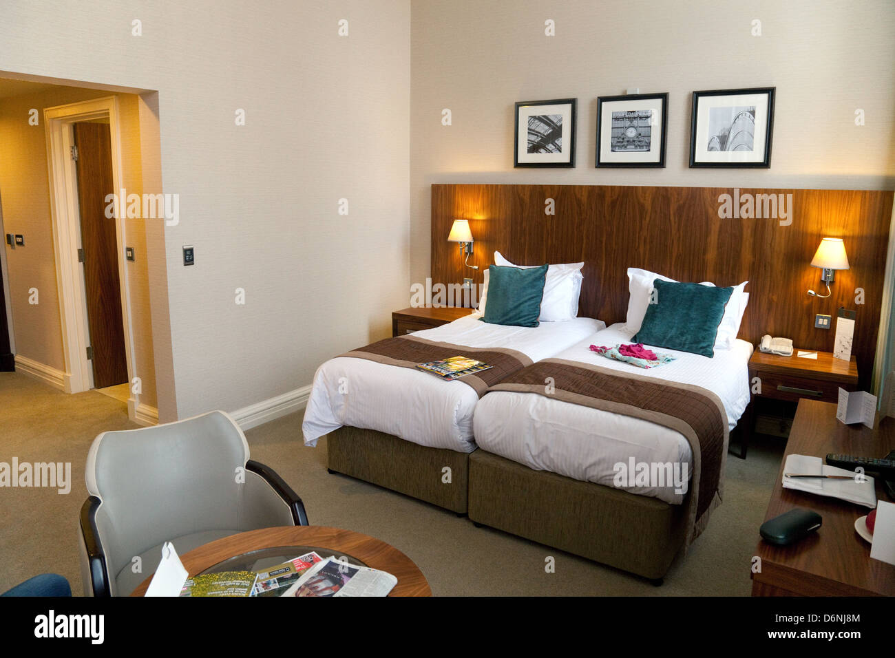 Double bedroom at the 5 star luxury Cedar Grand Court Hotel and Spa, York,  Yorkshire UK