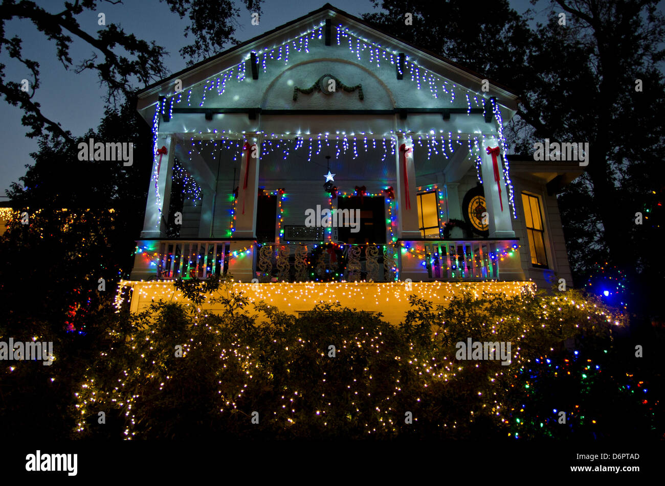 Decorated House Lit Up At Night On Christmas French Quarter New  - New Orleans Christmas Lights