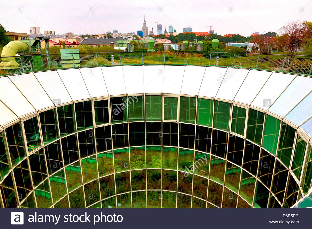 Poland, Warsaw, View of Downtown Warsaw from Roof Garden ...