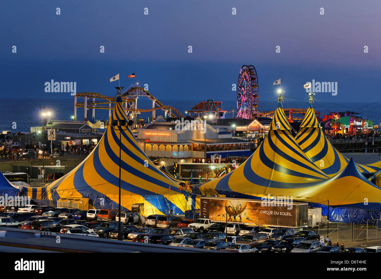 USA California Santa Monica Striking blue yellow tent tops Cirque du Soleil adorning Santa Monica Beach next Santa Monica Pier & USA California Santa Monica Striking blue yellow tent tops Cirque ...