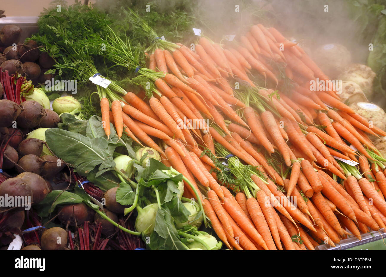 Stock Photo   Vegetables Kept Fresh And Cool With CO2 From Dry Ice, In A  Supermarket