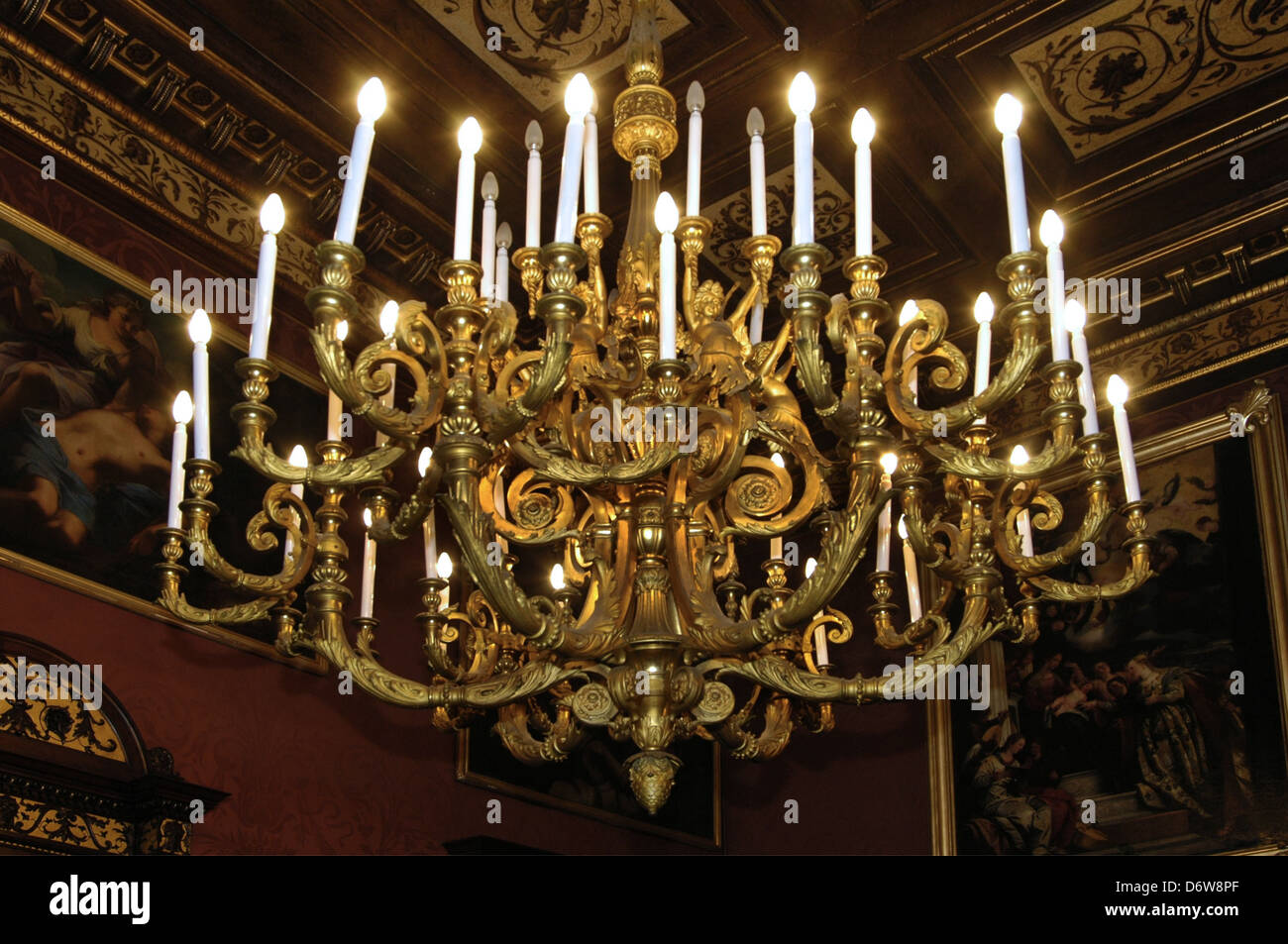 An antique chandelier in Palazzo Parisio sometimes known as Palazzo  Scicluna and officially Palazzo Parisio and Gardens, a palace in Naxxar,  Malta - An Antique Chandelier In Palazzo Parisio Sometimes Known As