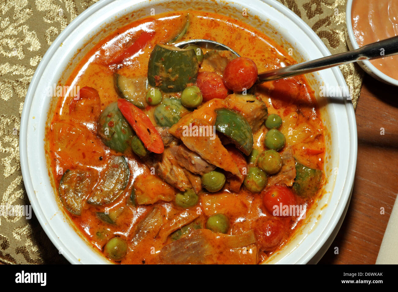 Thailand, Khon kaen, Thai Duck Curry Gang Pet Yang with 2 types of ...