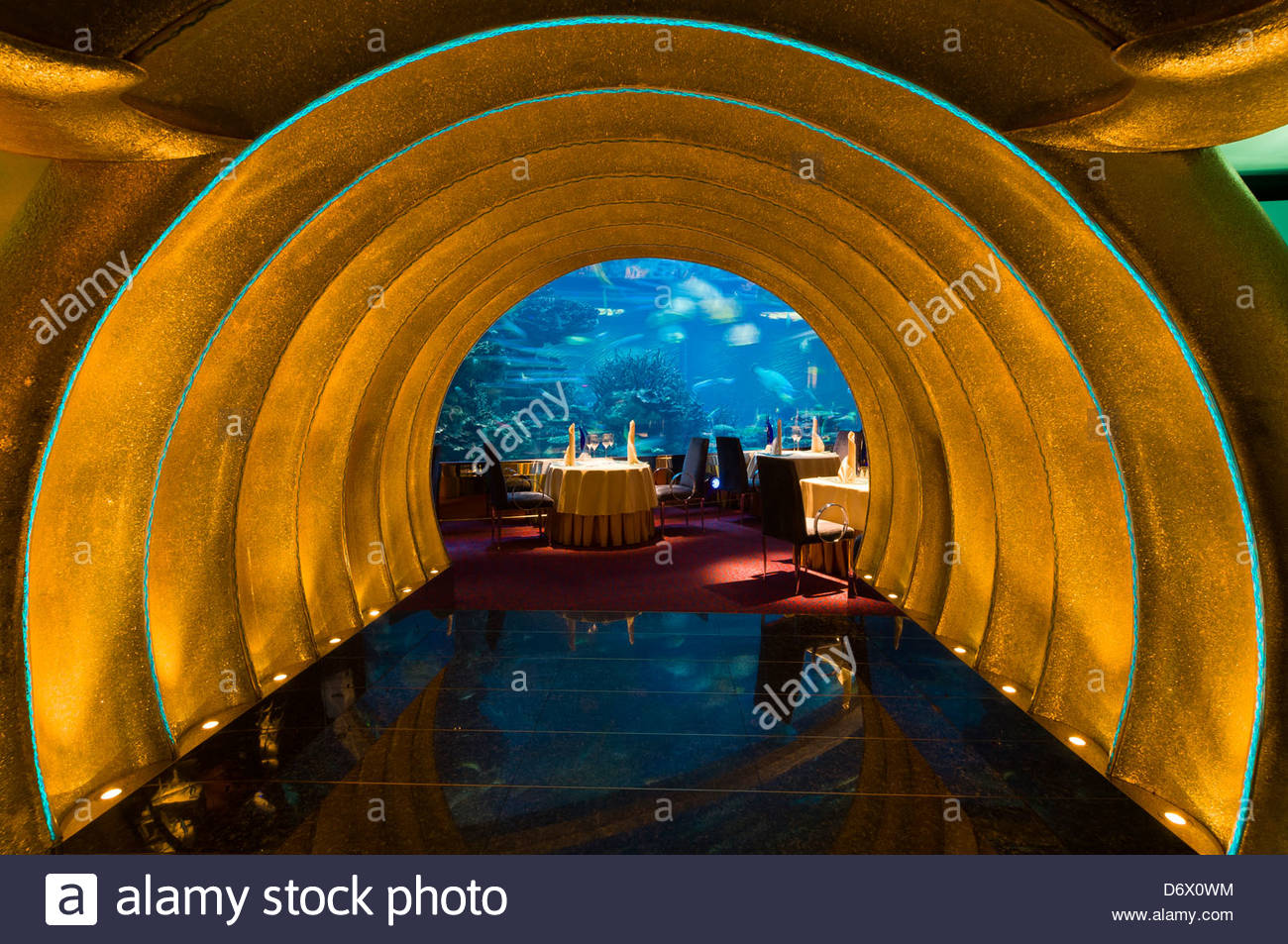 the underwater themed al mahara restaurant in the burj al