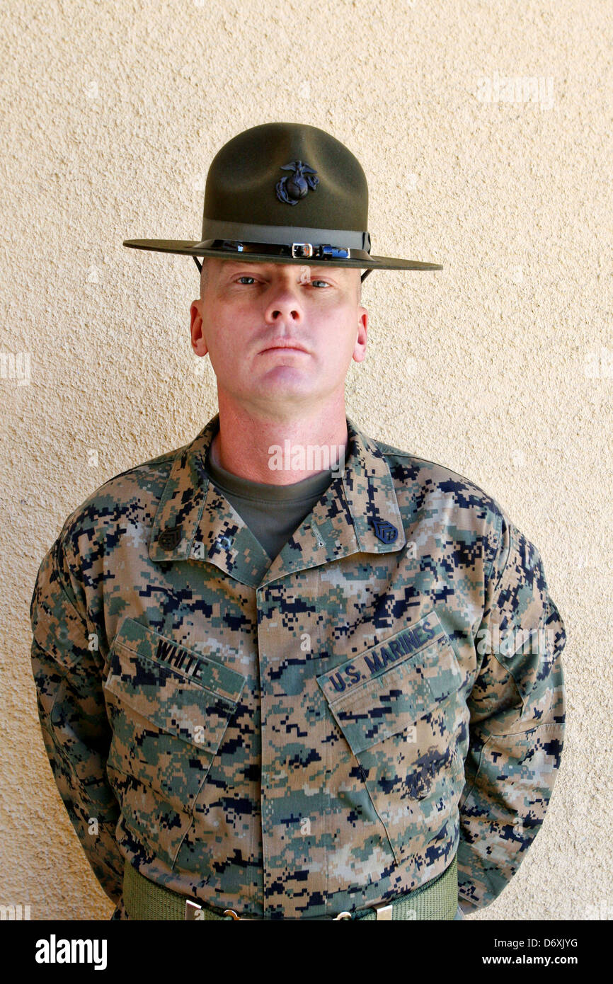 US Marine Corps drill instructor Staff Sgt. Michael E. White at ...