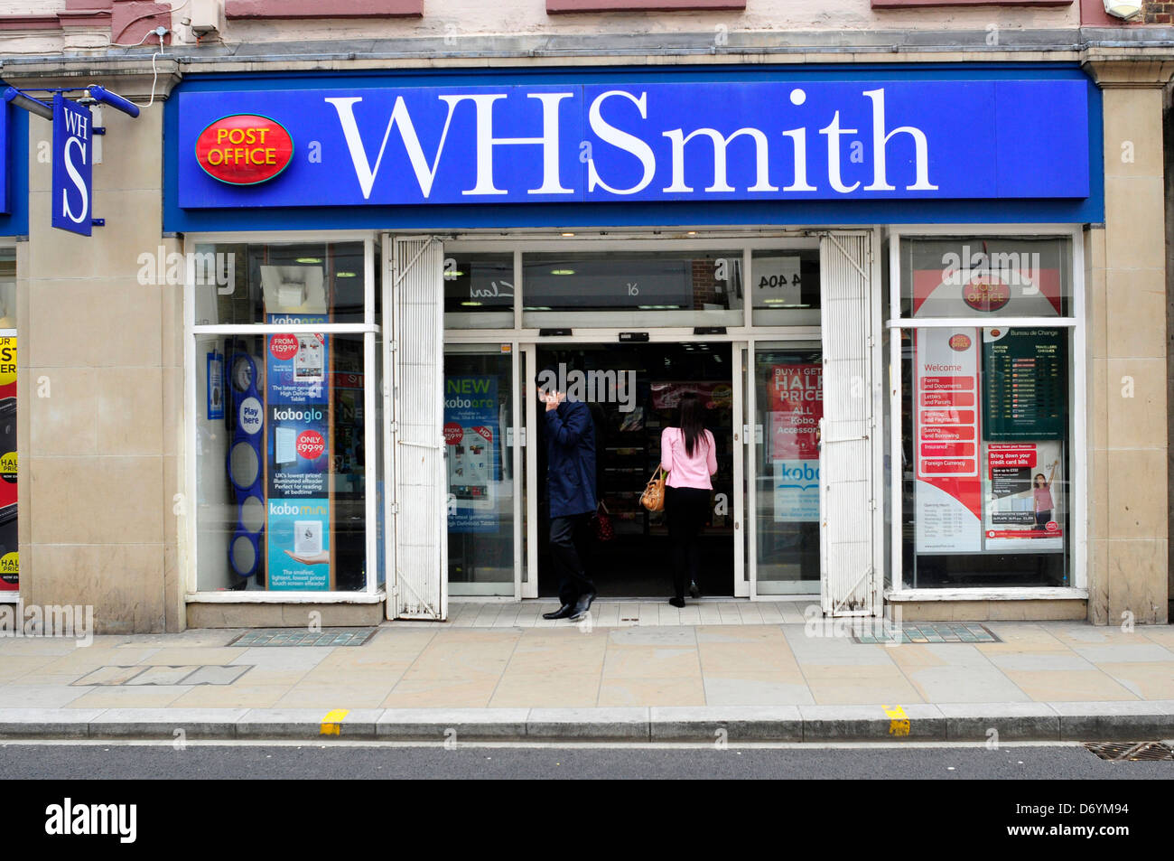a front view of w h smith post office shop in richmond london uk stock photo royalty free. Black Bedroom Furniture Sets. Home Design Ideas