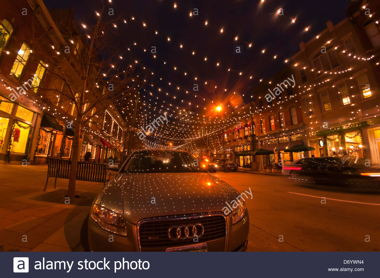 Larimer Square In Downtown Denver Illuminated For The Holiday Season Stock Photo Royalty Free