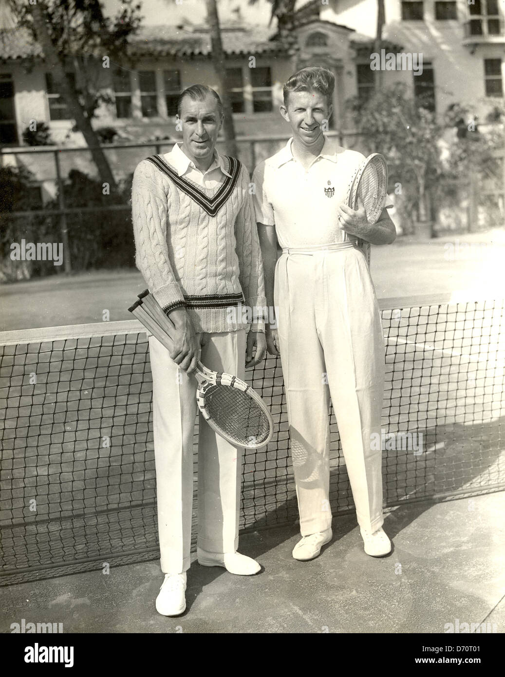 Don Budge and Bill Tilden Palm Beach 1940 Stock Royalty