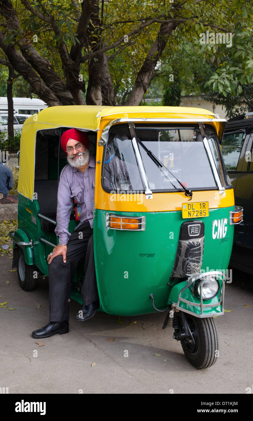 auto rickshaw tuk tuk sikh driver new delhi india stock photo royalty free image 55971068 alamy. Black Bedroom Furniture Sets. Home Design Ideas