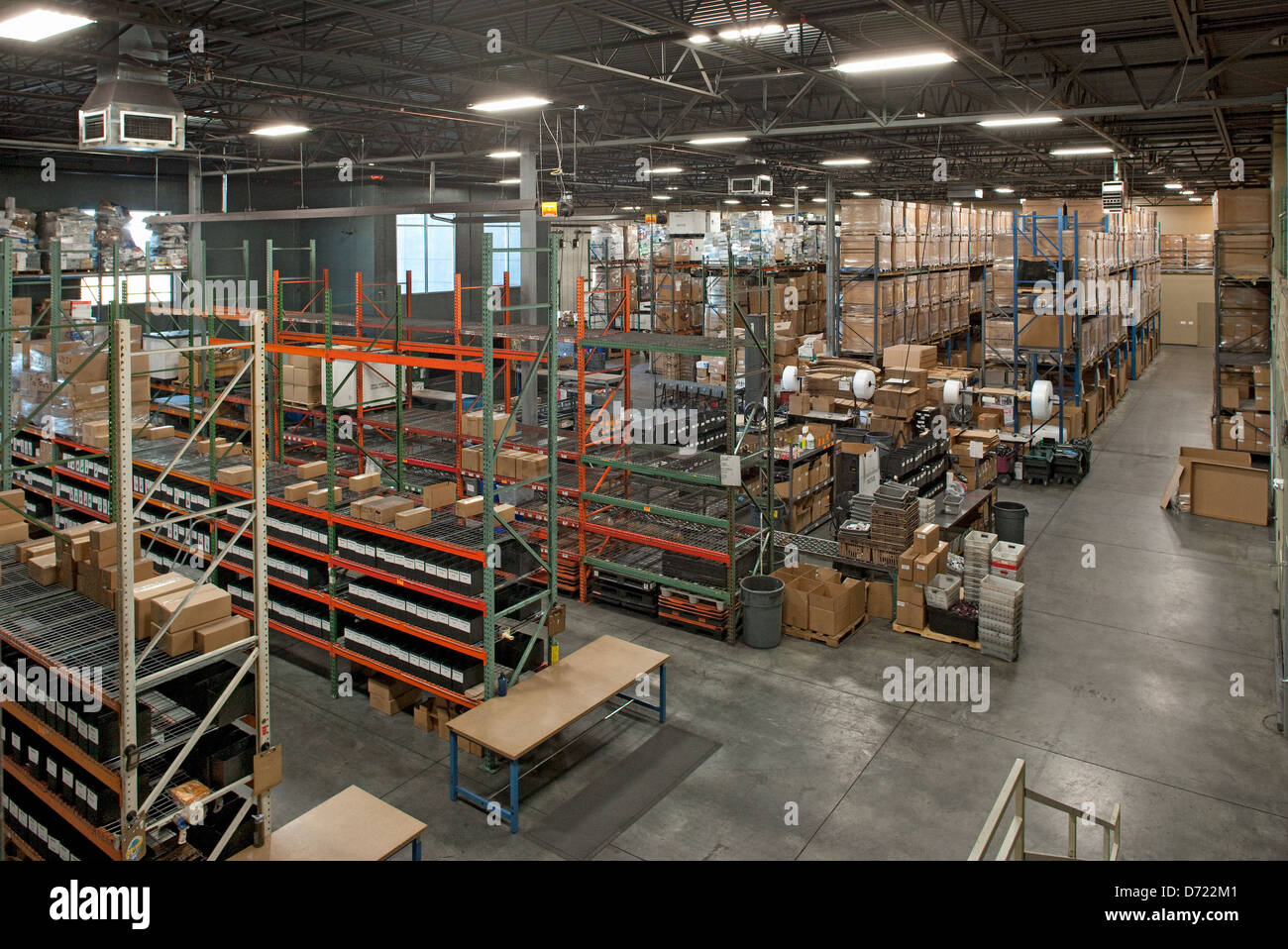Overhead View Of Warehouse Interior For Recycling And Refurbishing  Electronics, Inkjet Cartridges, And Printer Toner.