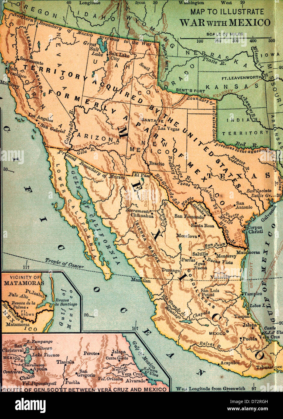 Map To Illustrate USA War With Mexico Stock Photo - Mexico usa map