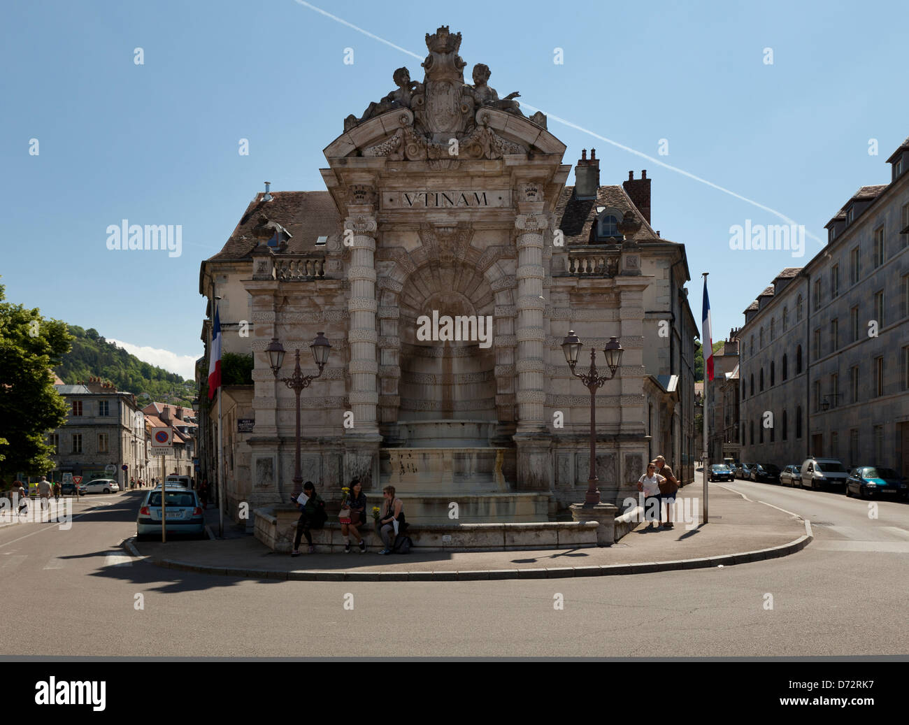 besancon france fountain at place jean cornet stock photo royalty free image 55996171 alamy. Black Bedroom Furniture Sets. Home Design Ideas