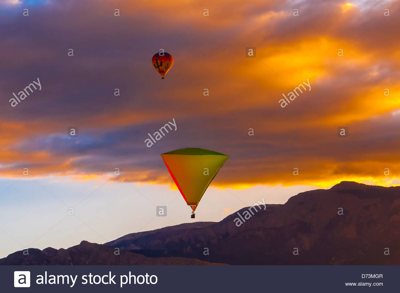 A special shapes hot air balloon flying at sunrise with the a special shapes hot air balloon flying at sunrise with the sandia mountains in background during the albuquerque international balloon fiesta sciox Choice Image