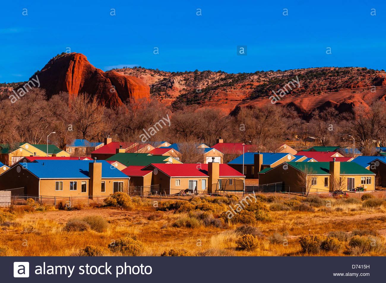 Houses navajo wingate village navajo nation church rock new mexico usa