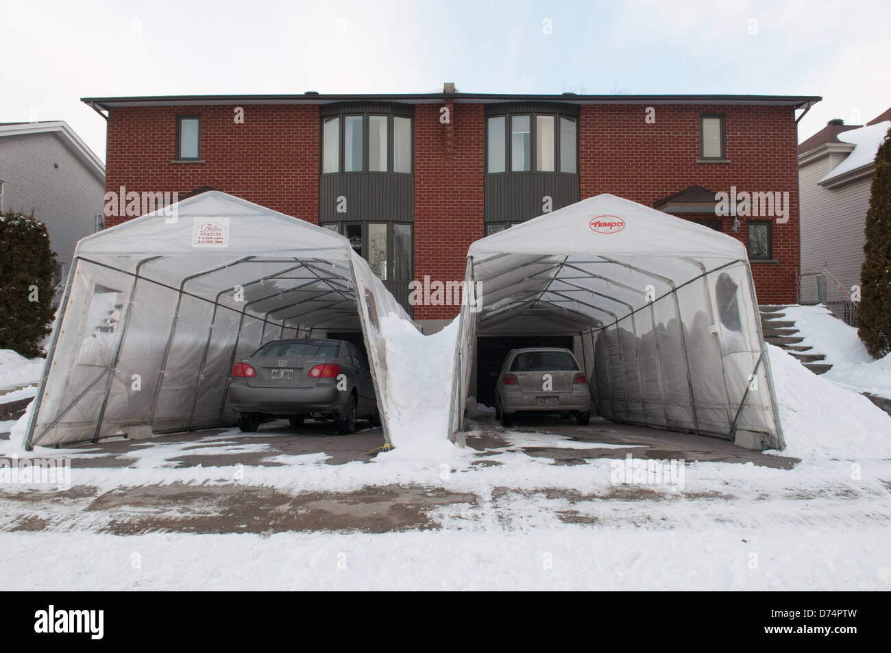 Temporary Tempo car shelters in a suburb of Montreal ...
