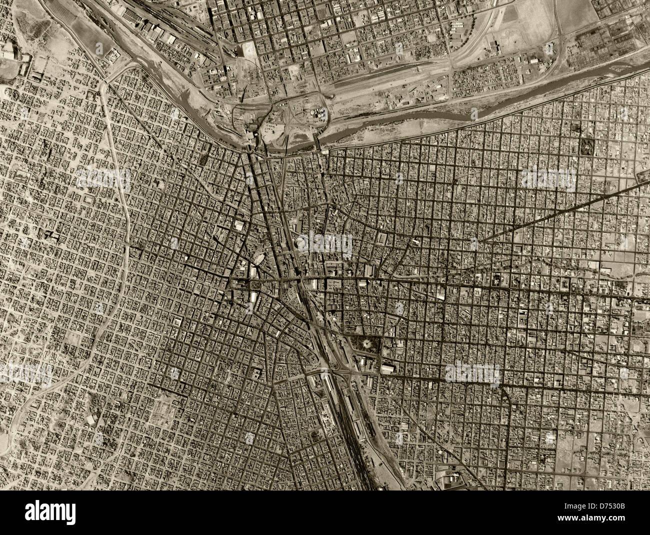 Historical Aerial Photograph US Mexican Border Ciudad Juarez - Aerial maps over mexican us border