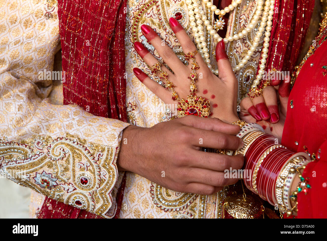 Close Up Of An Indian Bride And Groom In Traditional Wedding Dress Stock Photo Royalty Free