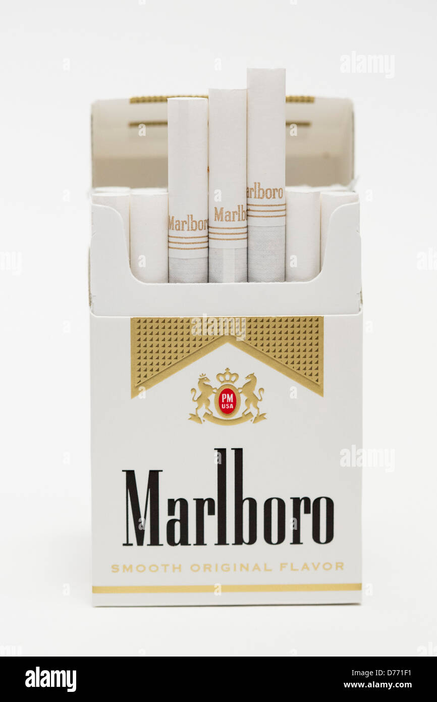 a pack of marlboro gold cigarettes stock photo royalty