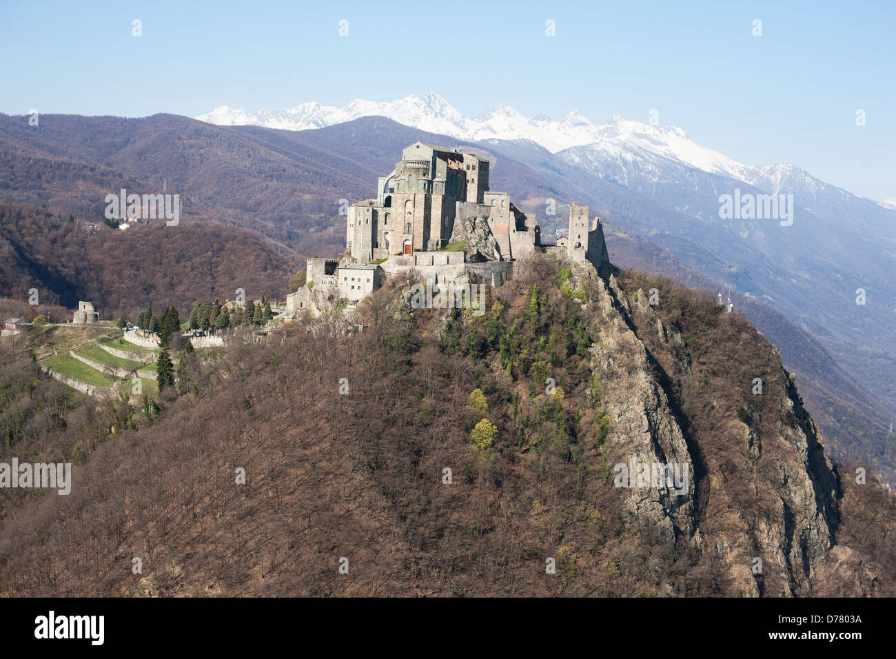 sacra di san michele aerial view abbey on a rocky. Black Bedroom Furniture Sets. Home Design Ideas