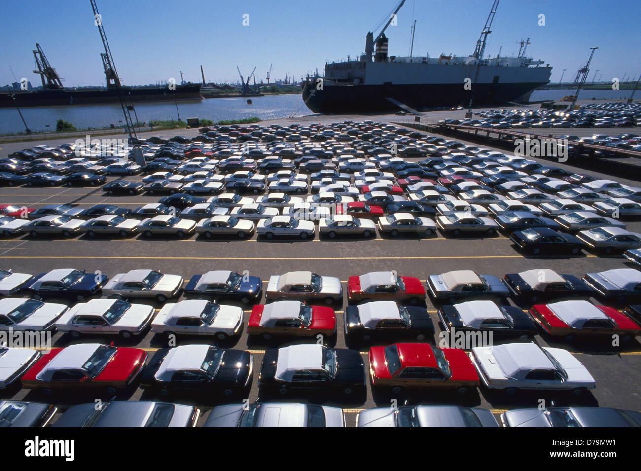 Germany Bremerhaven Import Export Cars In Port Bremerhaven Stock
